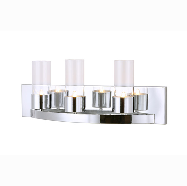 Glass Vial Vanity Light : Audrey, 3 Light Vanity - Clear Glass, Chrome - OPEN BOX