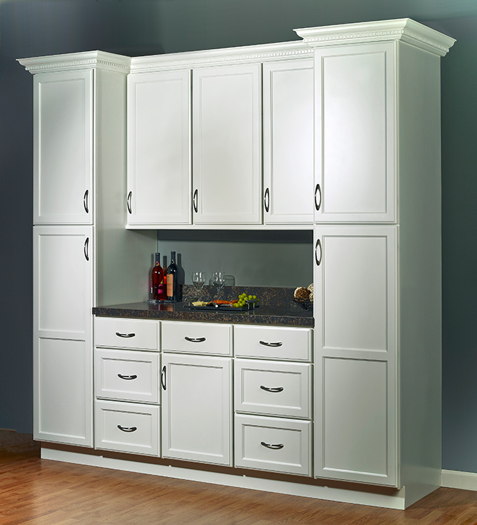 "Kitchen Drawers Vs Cabinets: JSI's Plymouth White ""One Wall"" Kitchen Set"