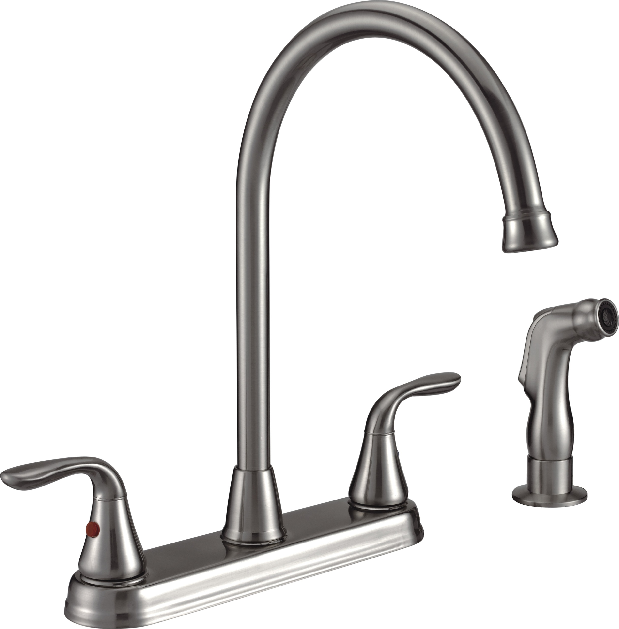 Freendo Two Handle High Arc Kitchen Faucet with Side Spray - Brushed ...